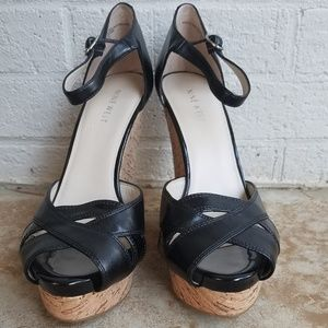 ▪Nine West▪Black Wedges With Ankle Strap